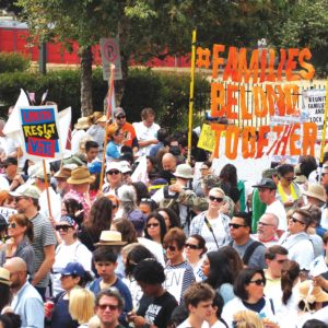 Los Angeles residents opposed to the president's immigration policy have held protests, including the Families Belong Together March in downtown L.A. last month. (photo by Luke Harold)