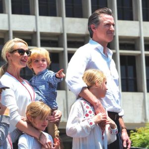 Lt. Gov. Gavin Newsom and his family joined approximately 55,000 people in Grand Park on June 30 for L.A.'s Families Belong Together March. (photo by Luke Harold)