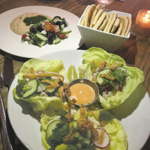 The crab Louis lettuce wraps, top right, came in large Boston bibb lettuce with succulent crab and a tangy aioli. (photos by Jill Weinlein)