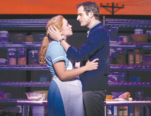"""Bryan Fenkhart and Desi Oakley star in """"Waitress,"""" a new musical with music by Sara Bareilles. (photo by Joan Marcus)"""