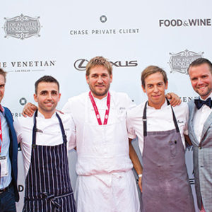 Chef Curtis Stone, center, will once again headline the marquee event at the Los Angeles Food and Wine Festival on Saturday, Aug. 25 on Grand Avenue. Events span five days this year, beginning Wednesday, Aug. 22. (photo by Gina Sinotte)
