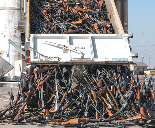 A truck dumped thousands of firearms at a facility that recently melted them down and converted the steel into rebar for road projects. (photo courtesy of the LASD)