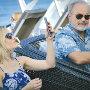 "Rachel (Kristen Bell) and Harry (Kelsey Grammer) end up on a cruise ship in the father-daughter film ""Like Father."" (photo courtesy of Netflix)"