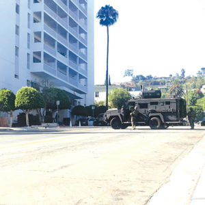 The sheriff's department's Special Enforcement Bureau was called to a condominium building in West Hollywood on Tuesday following a landlord-tenant dispute. A resident involved was arrested after a five-and-a-half-hour standoff. (photo courtesy of the LASD)