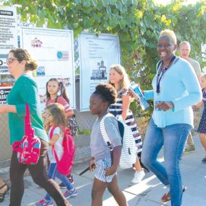 Sheila Paige (right) escorted her daughter Kennedi on the first day of classes at Hancock Park Elementary. Classes for LAUSD schools started on Aug. 14. (photo by Edwin Folven)