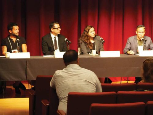 Panelists (from left) were Mito Aviles, community organizer and activist; Apolonio Morales, political director for the Coalition for Humane Immigrant Rights; Lindsay Toczylowski, founder of ImmDef; and Tai Sunnanon, CEO of the Strategic Insights Group. (photo by Luke Harold)