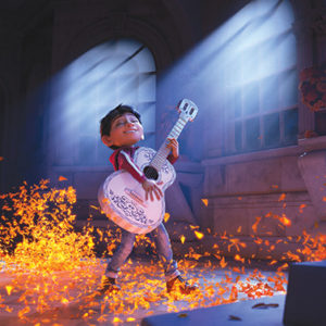"In ""Coco,"" Miguel (Anthony Gonzalez) dreams of becoming an accomplished musician, going against his family's wishes. (photo © Disney/Pixar)"