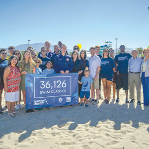 Mayor Eric Garcetti joined supporters of SwimLA at the Hansen Dam Aquatic Center on Sept. 15 to announce the program has enrolled 36,000 people in swimming classes. (photo courtesy of Los Angeles Mayor Eric Garcetti's office)