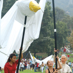 The Jane Goodall Institute's Roots & Shoots youth program will fly the signature giant peace dove puppet. (photo courtesy of the Los Angeles Zoo)