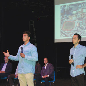 Beverly Hills High School seniors Ryan Abrishami (left) and Sean Toobi (right) held a forum on Sept. 24 to protest the Purple Line Extension's construction under the school. The school district has filed numerous lawsuits over Metro's route since 2012. (photo by Maura Turcotte)