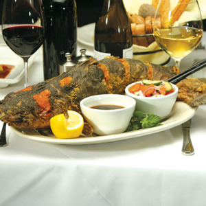 Flash-fried catfish with ginger. (photo courtesy of the Parkway Grill)
