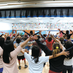 """Students rehearsed for a production of """"The Lion King"""" as part of Center Theatre Group's inaugural """"Disney Musicals in Schools"""" program. (photo by Ryan Miller/Capture Imaging)"""