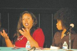 School safety prosecutor Sharee Sanders Gordon discussed steps the Los Angeles City Attorney's Office is taking to increase safety on and around campuses at a panel discussion on Sept. 12. Fairfax High School senior Amari Williams also provided a student perspective. (photo by Edwin Folven)
