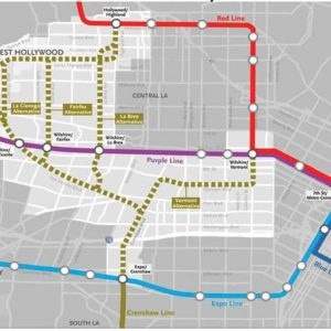 Metro presented five possible alignments to bring the Crenshaw/LAX Line to West Hollywood. (graphic courtesy of Metro)
