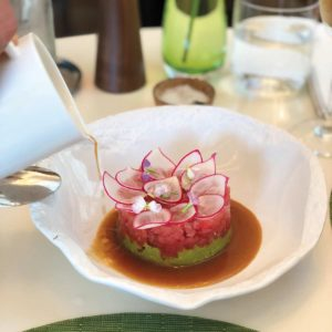The presentation of the ahi tuna tartare resembles a flower,  blooming with flavor. (photo by Emily Jilg)