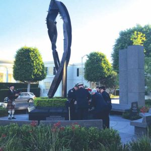 Beverly Hills city officials held a ceremony on Tuesday at the city's 9/11 memorial garden, where a piece from one of the buildings in the World Trade Center is on display. (photo courtesy of the city of Beverly Hills)