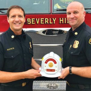 Joseph Matsch, left, began his career as a firefighter with the U.S. Air Force. (photo courtesy of the city of Beverly Hills)