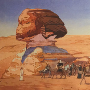 Hiroshi Yoshida traveled around the globe, including to Egypt as seen above, as he created his woodblock prints. (photo courtesy of Japan Foundation, Los Angeles)