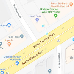 The intersection of Santa Monica Boulevard and Westbourne Drive, where the pedestrian was struck, is offset. (photo courtesy of Google Maps)