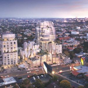 A rendering of the 8150 Sunset project shows its configuration on Sunset Boulevard. (photo courtesy of Visualhouse)