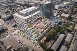Netflix will lease the EPIC building at 5901 Sunset Blvd., which offers electric car charging stations, bike storage, a fitness center, an autonomous vehicle drop-off zone and drone landing pads, until 2031. (photo courtesy of Hudson Pacific Properties)