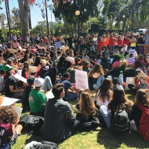 Beverly Hills students gathered at Will Rogers Memorial Park to protest the Purple Line Extension tunneling underneath the high school. (photo by Luke Harold)