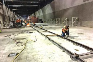 Crews installed tail tracks to support the tunnel boring machine as the Purple Line Extension project is heads through Beverly Hills en route to Westwood. (photo courtesy of Metro)