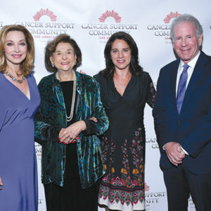 Gilda Award: Community Champion honoree Sharon Lawrence joined CSCLA founders board member and Gilda Award Gala honorary co-chair Ruth Weil, Gilda Award: Legacy Champion honoree Lisa D'Apolito, and Harold H. Benjamin Innovation Award honoree Dr. David Wellisch at the annual gala. (photo courtesy of the Cancer Support Community Los Angeles)