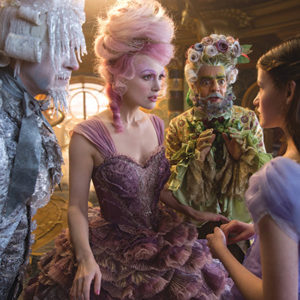 "Richard E. Grant, left, is Shiver, Keira Knightley stars as the Sugar Plum Fairy, Eugenio Derbrez is Hawthorne and Mackenzie Foy plays Clara in Disney's ""The Nutcracker and the Four Realms."" (photo by Laurie Sparham, © 2018 Disney Enterprises, Inc.)"