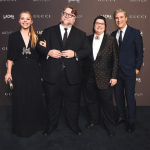 Writer Kim Morgan, from left, honoree Guillermo del Toro, honoree Catherine Opie, and LACMA CEO and Wallis Annenberg Director Michael Govan attend the 2018 LACMA Art+Film Gala on Nov. 3. (photo by Michael Kovac/Getty Images for LACMA)