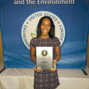 Los Angeles resident Ayanna Neal, a PEYA winner in last year's contest, was recently recognized at an award ceremony in Washington, D.C. Neal founded the environmental nonprofit Friends of the LAX Dunes to protect and restore coastal habitat owned by the Los Angeles Airport. (photo courtesy of the U.S. EPA, Los Angeles)