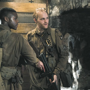 "Jovan Adepo as Boyce and Wyatt Russell as Ford stand out in ""Overlord."" (photo courtesy of Paramount Pictures)"