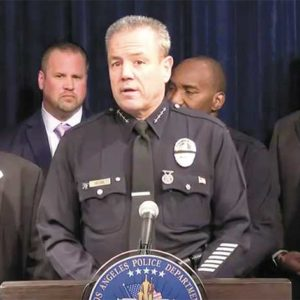 LAPD Chief Michel Moore warned that hate crimes are increasing nationwide and cautioned the public to remain vigilant. (photo courtesy of the LAPD)
