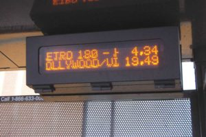 Metro is installing electronic messaging signs at bus shelters that will provide riders with arrival times and other information. (photo by Edwin Folven)