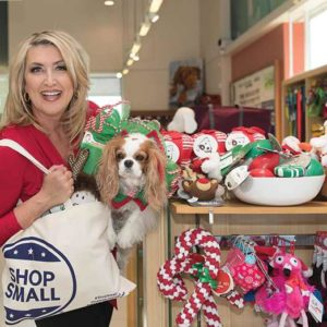 "Last year's ""Stars Shop Small WeHo"" included KTLA5 reporter Wendy Burch making an appearance at the Healthy Spot pet store with her dog Sophia Loren. This year, celebrities Lisa Vanderpump, Kirsten Vangsness and Robert Kovacik will be featured in the Small Business Saturday celebrations in West Hollywood. (photo courtesy of the West Hollywood Chamber of Commerce)"