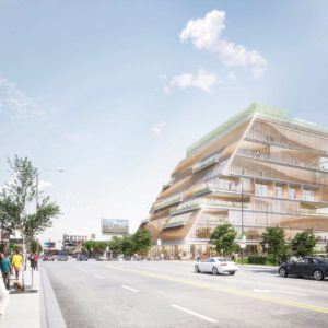 The nine-story project will be a mixed-use commercial building with retail and restaurant space, offices, a performing arts rehearsal room, a public art gallery and The Arts Club.  (rendering courtesy of the city of West Hollywood)