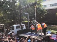 Columbus statue removed from Grand Park