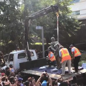 Contractors hauled away the Christopher Columbus statue that had been standing in Grand Park for 45 years in a ceremony led by Los Angeles City Councilman Mitch O'Farrell and the City/County Native American Commission. (photo by Luke Harold)