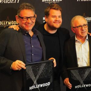 (From left) Lucian Grainge, James Corden and Irving Azoff participated in the event's keynote conversation. Grainge and Azoff also received Music Icon awards to commemorate their long careers as music industry executives. (photo by Luke Harold)