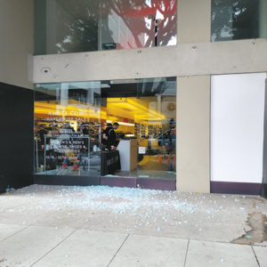 The Amuze pop-up shop on Robertson Boulevard was burglarized early Monday by a group of 10 suspects who smashed the glass front doors. The store reopened later the same morning. (photo courtesy of David Zokai)