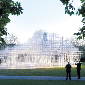 "Sou Fujimoto's ""Serpentine Gallery"" is a signature piece featured in the exhibit of the architect's works at Japan House Los Angeles. (photo by Iwan Baan)"