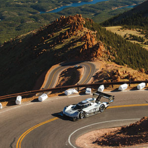 In June 2018, the Volkswagen I.D. R Pikes Peak sped through the nearly 13-mile course of the Pikes Peak International Hill Climb in just seven minutes and 57 seconds, making it the fastest car to complete the race. (photo courtesy of Volkswagen of America)