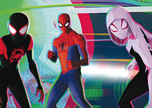 "Miles Morales (Shameik Moore), Peter Parker (Jake Johnson) and Spider-Gwen (Hailee Steinfeld) appear in Columbia Pictures and Sony Pictures Animations' ""Spider-Man: Into The Spider-Verse."" (photo courtesy of Sony Pictures Animation/© 2018 CTMG, Inc. All Rights Reserved)"