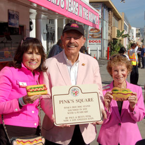 Gloria, Richard and  Beverly Pink celebrated the dedication of Pink's Square in September at Melrose and La Brea avenues. (photo by Edwin Folven)