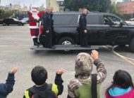 Santa joins LAPD for toy giveaway in Hollywood