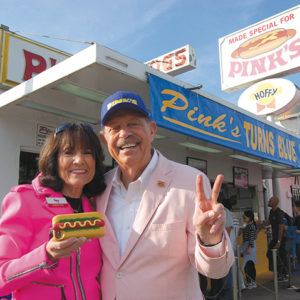 Richard and Gloria Pink decked out their stand in blue and gold to celebrate the Rams' first trip to the Super Bowl since returning to L.A. (photo by Edwin Folven)