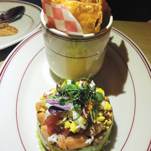 One of the prettiest dishes at Spoonfed is the salmon tartare stack with crispy wonton chips. (photo by Jill Weinlein)