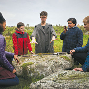 "Rhianna Doris, Louis Ashbourne Serkis, Angus Imrie, Dean Chaumoo and Tom Taylor must use the power of a fabled sword to vanquish foes in ""The Kid Who Would Be King."" (photo courtesy of 20th Century Fox)"