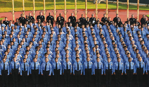 The LAPD's cadet program provides opportunities for youth to learn about law enforcement and support the department in police stations and at community events. (photo courtesy of the LAPD)