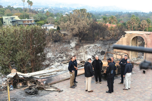 In November, President Donald J. Trump joined then-Gov. Jerry Brown and Gov.-elect Gavin Newsom to view the wreckage in Mailbu from the Woolsey fire. (photo courtesy of the White House)